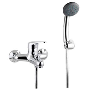 BRASS HEAVY BATH MIXER SINGLE LEVER WITH FLEX HOSE 150 CM AND SHOWER