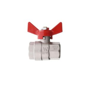 "BRASS ""POKER"" BALL VALVE FULL BORE WITH WING HANDLE F.F."