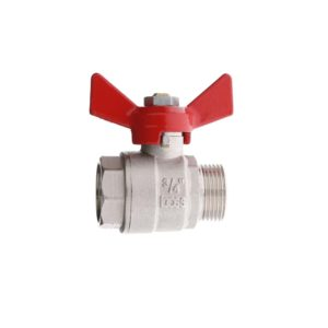 "BRASS ""POKER"" BALL VALVE FULL BORE WITH WING HANDLE M.F."