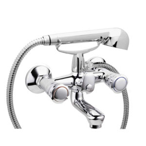 BRASS BATH MIXER HEAVY WITH FLEX HOSE 150 CM. AND HAND SHOWER